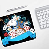 Customized Mousepad Gaming Mouse Pad Mat,Black Alice in Wonderland ations, Rabbit Amazing with Motion Cups Hearts Rose Flower Character Carto,Mouse Pad Antiscivolo Fondo in Gomma con Bordi Cuciti