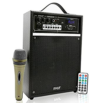 Pyle 300 Watt Outdoor Indoor Wireless Bluetooth Portable PA Speaker 6.5 inch Subwoofer Sound System with USB SD Card Reader Rechargeable Battery Wired Microphone FM Radio Remote - PWMAB250BK