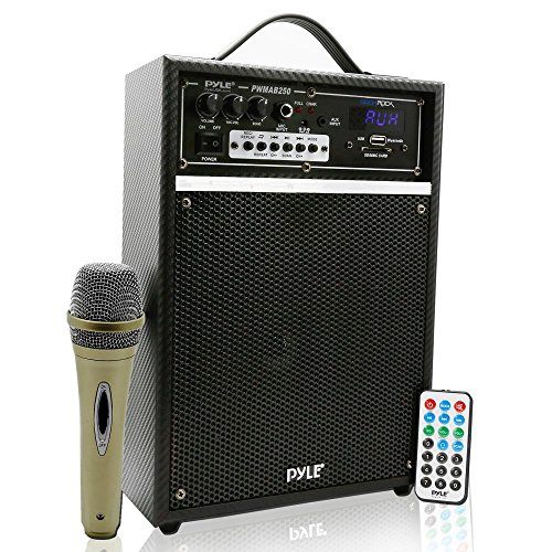 Pyle 300 Watt Outdoor Indoor Wireless Bluetooth Portable PA Speaker 6.5 inch Subwoofer Sound System with USB SD Card Reader, Rechargeable Battery, Wired Microphone, FM Radio, Remote - PWMAB250BK