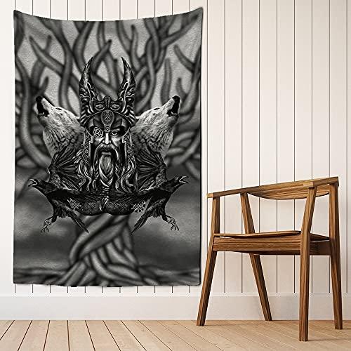Tapiz de arte de runas vikingas para colgar en la pared, estera de playa mágica, hippie bohemio, sala de estar, tela de fondo para colgar, manta de tela A12 130X150CM