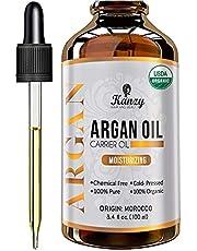 Kanzy Arganolie Biologische 100% Pure Koudgeperste Argan oil Morocco Veganistische Behandeling voor Droog Haar, Huid, Lichaam en Gezicht