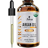 Kanzy Arganöl Haare Bio Kaltgepresst 100% Rein für Gesicht, Haut und Körper, Anti-Aging Vegan Argan oil of Marokko im Lichtschutz Recycelbare Glasflasche 100ml