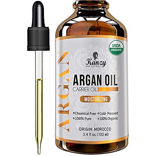 Kanzy Argan Oil 100% Pure Bottled in Morocco 100ml Organic Moroccan Hair Oil for Dry Damaged Hair, Vegan Cold Pressed Natural Oil for Men and Women for Face, Skin and Body