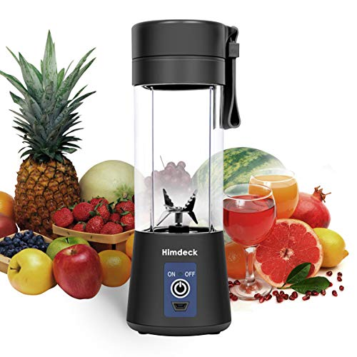 Personal Blender, Portable Blender for Smoothies and Shakes Handheld Electric Fruit Mixer Machine Six Blades 380mL USB Rechargeable Ice Mini Juicer Cup Home/Office/School/Outdoors (Black)