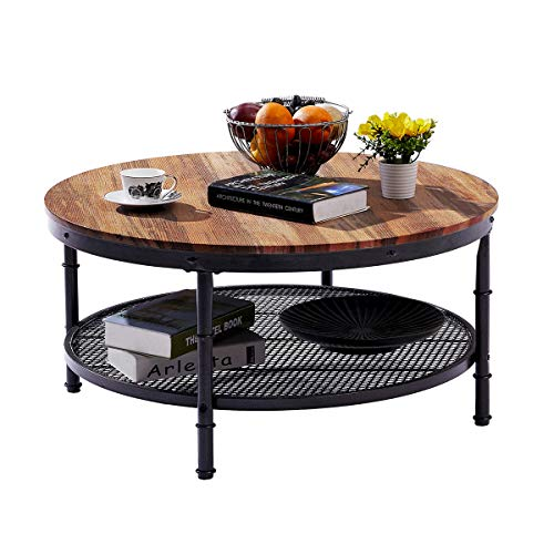GreenForest – Coffee Table Industrial Round Design Metal Legs with Storage Open Shelf for Living Room, Oak