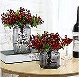 Hemore 2bouquet Fruit Berry bouquet di fiori artificiali per decorazioni albero di Natale ghirlanda Craft uso matrimoni (rosso) Halloween regalo gioielli fai da te Decorazione natalizia