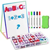 Tabletop Magnetic Easel Whiteboard (2 Sides) Includes:199 Magnetic ABC Alphabet Letters-Numbers-Symbol's, 5 Dry Erase Markers, & 1 Eraser. Drawing Art White Board Educational Kids Toy