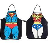 ALLY Delantal Cocina, Delantales Hombre, 2 Pack Superman + Wonder Woman mandil,...