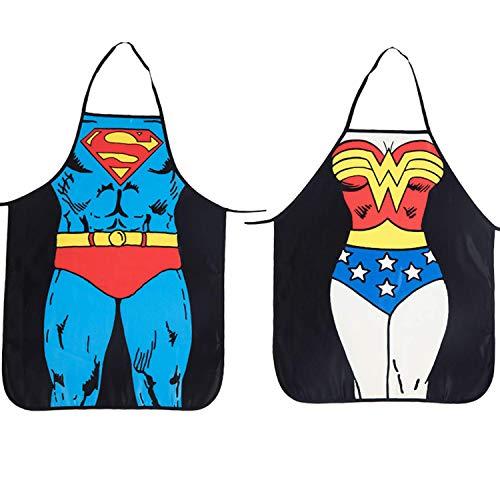 ALLY Delantal Cocina, Delantales Hombre, 2 Pack Superman + Wonder Woman mandil, Sexy Barbacoa Regalo para Hombres y Mujeres