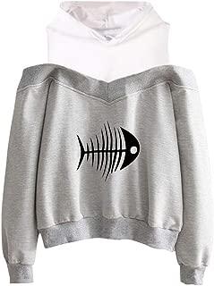 FONMA Women Off Shoulder Hooded Fishbone Print Loose Sweatshirt Fake Two-Piece Blouse