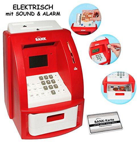 alles-meine.de GmbH elektrische Spardose -  Geldautomat - rot  - mit Sound + PIN Geldkarte + Sparzähler + Alarm Funktion + Zählfunktion / stabile & Digitale Sparbüchse / für Ki..