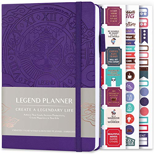 Legend Planner – Deluxe Weekly & Monthly Life Planner to Hit Your Goals & Live Happier. Organizer Notebook & Productivity Journal. A5 Hardcover, Undated – Start Any Time + Stickers – Purple