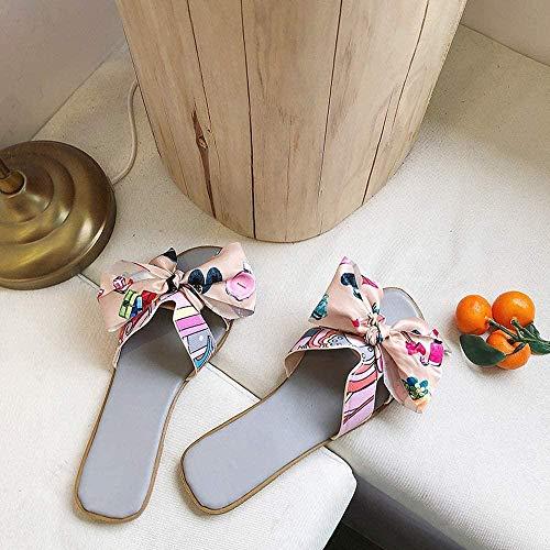 ZSW Moda Interior Mujer Zapatillas Inicio Antideslizante Zapatos Planos para Mujer Sala de Estar Zapatillas para Mujer (Color: Beige Tamaño: 39)- 35_Gris