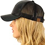 CC Everyday Mesh Trucker Faux Leather Plain Blank Baseball Cap Hat Solid Black