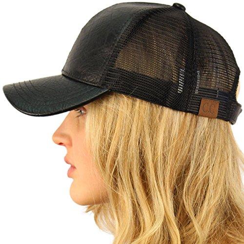 CC Everyday Mesh Trucker Faux Leather Plain Blank Baseball Cap Hat Solid Black