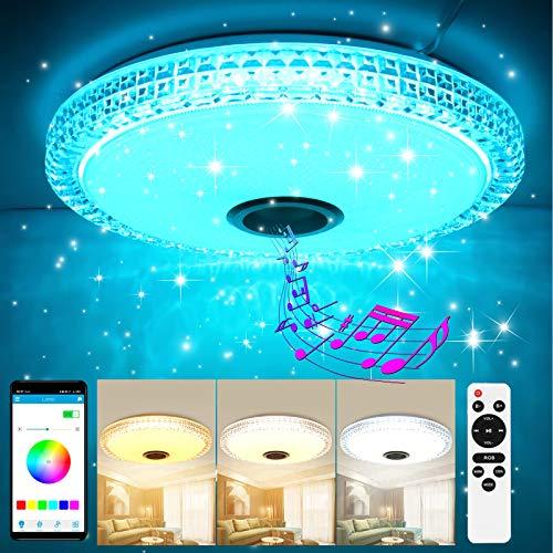 Led Deckenleuchte mit Bluetooth Lautsprecher, GGHKDD Dimmbar Deckenlampe Farbwechsel mit Fernbedienung und APP-Steuerung, 36W 3000-6500K für Schlafzimmer Küche Kinderzimmer Wohnzimmer, Rund 40cm