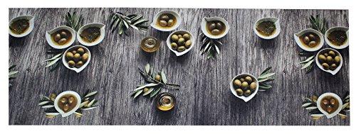 PERLARARA - Passatoia Cucina PVC Lavabile e Antiscivolo, Tappeto a Metraggio Lavabile in Lavatrice, Fantasia Olive, Misura Personalizzabile (1 quantità = 10 cm)