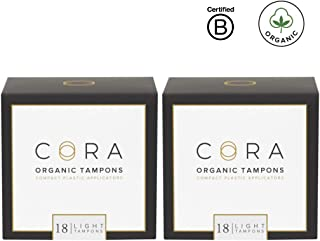 Cora Organic Cotton Tampons with BPA-Free Plastic Compact Applicator; Chlorine & Toxin Free - Light (36 Count) (Packaging May Vary)
