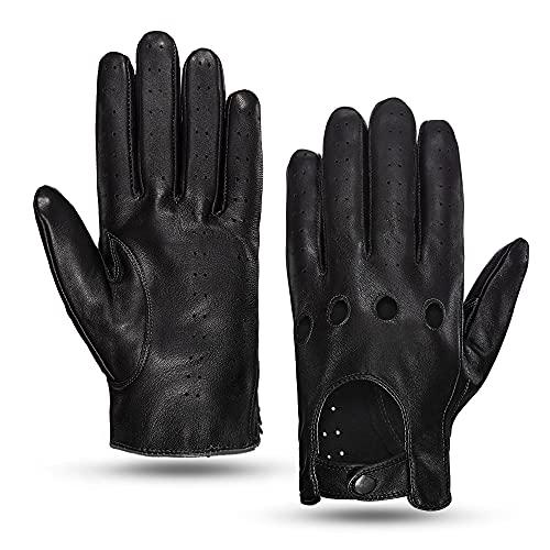 MGGM collection Guanti da guida in pelle touchscreen da uomo sfoderati,nero,M