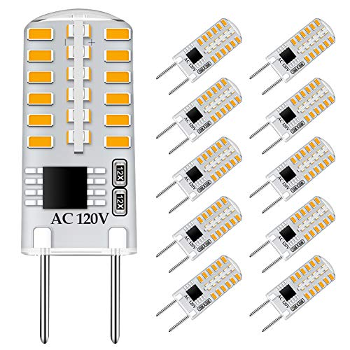 G8 LED Bulb Dimmable 3W Equivalent to G8 Halogen Bulb 20W-25W, T4 JCD Type Bi-Pin G8 Base, AC 120V Mini G8 Bulb Warm White 3000K for Under Cabinet Light, Under Counter Kitchen Lighting (10 Pack)