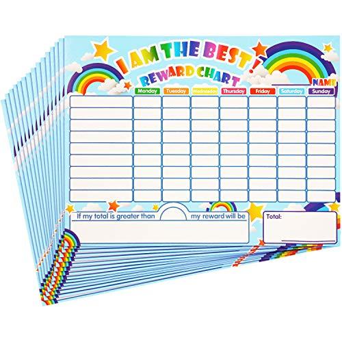 Outus Tablas de Recompensa de Rápido Secado Tablas de Estrellas de Comportamiento Responsabilidad Aprendizaje Autoadhesivas para Niños Casa Aula Navidad, 14,5 x 11 Pulgadas (15 Piezas)