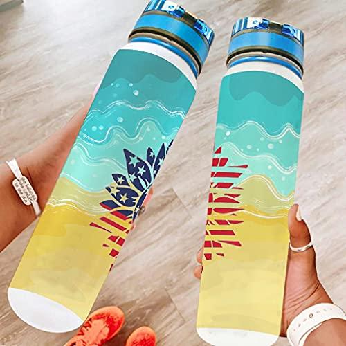 chvcodd América girasol 32oz botella de agua deportiva lavavajillas seguro camping botella deporte botella natación mejor regalo para amado blanco 1000ml