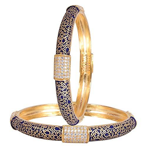 Ratnavali Jewels CZ Zirkonia Gold Tone Glatte Blaue Emaille Indische Armreifen Bollywood Schmuck Frauen