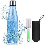 flintronic Botella Termica, 500ML Botella de Agua de Acero Inoxidable, Aislamiento de Vacío de...