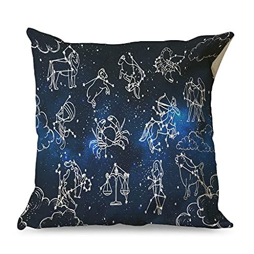 CCMugshop Funda de cojín decorativa de algodón y lino con diseño de signo del zodiaco, para exteriores, color blanco, 45 x 45 cm