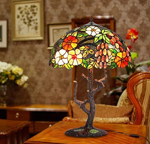 Lámpara de mesa estilo vitral estilo Tiffany Lámpara decorativa de 2 luces con base de tronco de árbol de hierro Lámparas de mesa decorativas para la decoración del hogar de la sala de estar, E27