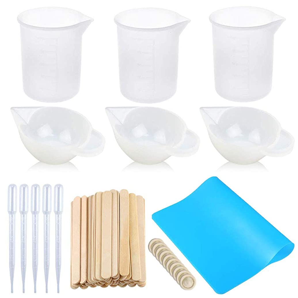 Jatidne Silicone Measuring Cups for Resin Art Resin Mixing Cups 100ml with Wooden Sticks Silicone Mat Finger Cots