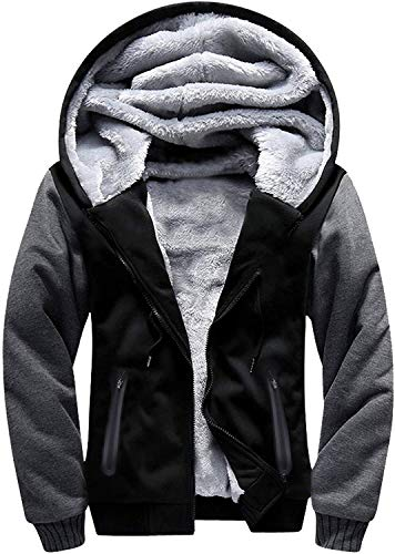 Men's Zip Up Hoodie Heavyweight Winter Sweatshirt Fleece Sherpa Lined Warm Jacket(Black/Grey,Medium)