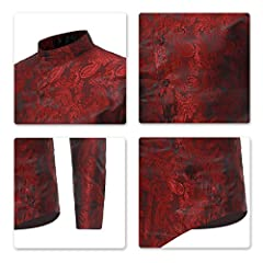 Sliktaa Mens Casual Dress Shirts Steampunk Shirt Long Sleeve Slim Fit Floral Button Down Wing Collar Shirts, S, Wine Red #4