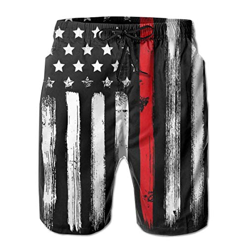 PAUFOGA Mens Firefighter Thin Red Line American Flag Lightweight Swim Trunks Summer Breathable Cool Quick Dry Board Shorts Bathing Suit with Side Pockets Mesh Lining L