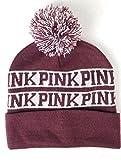 Victoria's Secret Pink Nation Ruby Beanie Hat Pom Pom, Maroon, one size