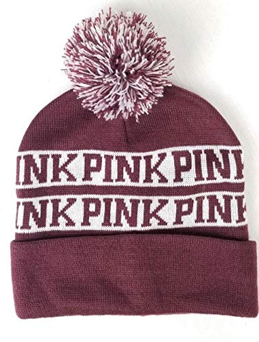 HOT BUY! - Victoria's Secret Pink Nation Ruby Beanie Hat Pom Pom, Maroon, one size