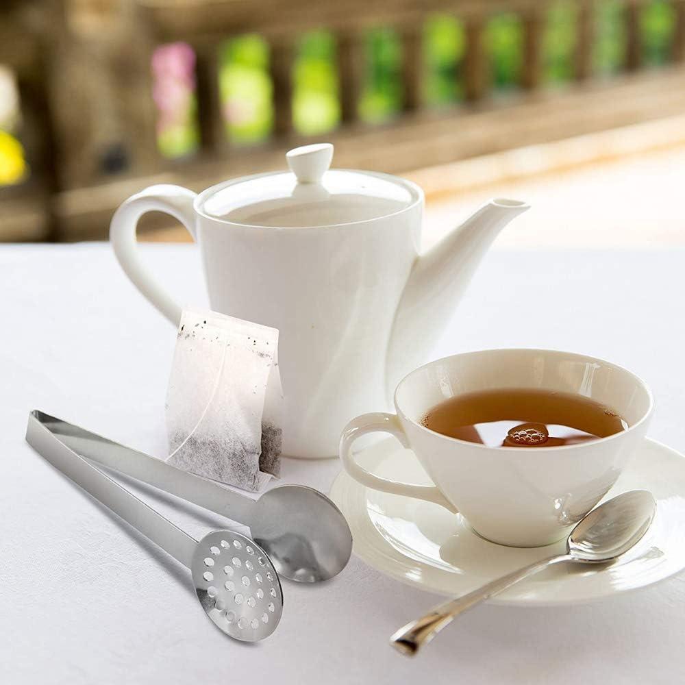 Tea Strainers Holder Clip for Loose Tea Stainless Steel Tea Bag Spoon Tea Bag Strainer Tea Bag Tongs QAH Tea Bag Squeezer 1pc Kitchen Bar Tools