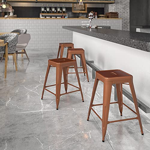 Flash Furniture Commercial Grade 24' High Backless Copper Indoor-Outdoor Counter Height Stool