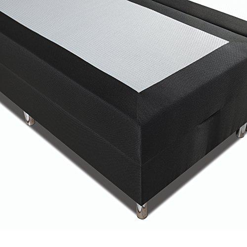 Betten-ABC® Boxspringbett Schwarzwald Comfortbox Tonnentaschenfederkernmatratze+ Topper+ Bettkasten – Grösse 120 x 200 cm – Härtegrad 8 – Stoff Schwarz, fein - 4