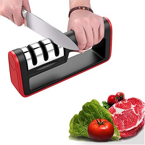 XWSD Afilador de Cuchillos Profesional de Cocina de 3 etapas, Inoxidable, Mango ergonómico para un Agarre cómodo, fricción Fuerte, para múltiples Herramientas
