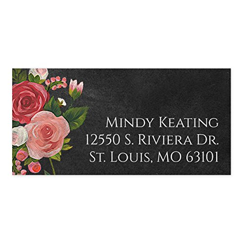Chalkboard Floral Self-Adhesive, Rectangle Address Labels - Personalized - Minimum Quantity 96