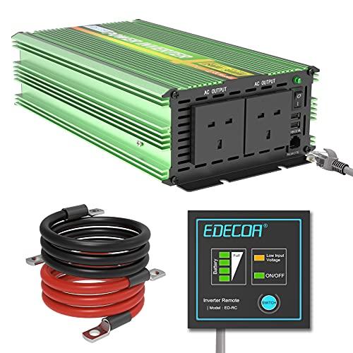 EDECOA 24V Power Inverter 1500W Pure Sine Wave DC 24V to 240V 230V 220V AC With Remote Control 2 USB...
