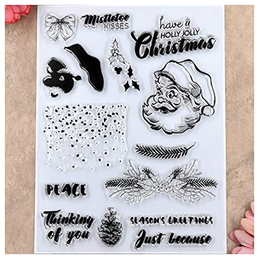 Kwan Crafts Merry Christmas Santa Snowfall Peace Clear Stamps for Card Making Decoration and DIY Scrapbooking