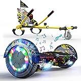 RCB Hoverboard para niños, Hoverboard Asiento, Patinete con Ruedas Intermitentes, Altavoz Bluetooth, Luces LED, Adultos y Adolescentes