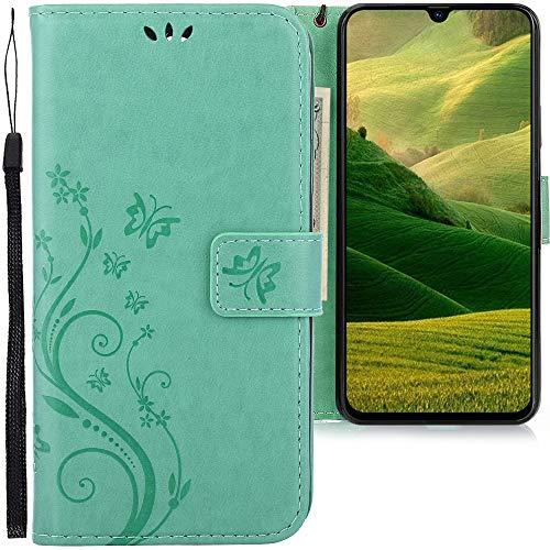 CLM-Tech Hülle kompatibel mit Samsung Galaxy A70 - Tasche aus Kunstleder - Klapphülle mit Ständer und Kartenfächern, Schmetterlinge grün