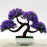 SHJI Árbol de Bonsai Artificial, Árbol Artificial Mini árbol Artificial Potted Decoración del hogar Árbol Artificial para Boda, Festival, Fiesta, Familia 0529 (Color : Purple)