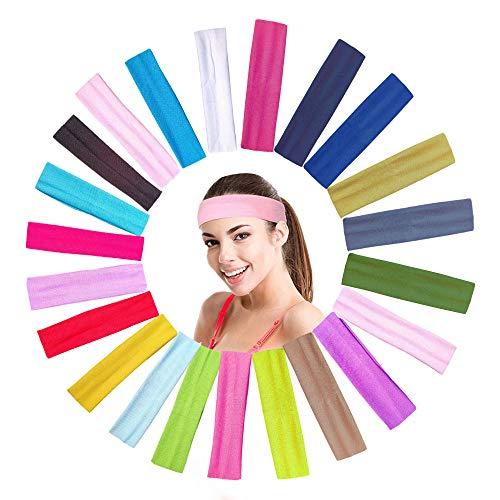 MELARQT Sport Yoga Stirnband, 22 Stück Sport Stirnband Set, Stretchy Band Haarband, Sport Schweißband, Unisex Erwachsene Headband für Laufen, Radfahren, Yoga, Basketball