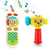 VATOS Juguete de Control Remoto Juguetes Martillo para Bebés de 12 a 18 Meses para Arriba Juguetes para Niños Iluminación y Sonido Baby Hammer Los para Niños de 1 año (Solo Pronunciación en inglés)