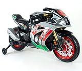 Moto Racing Aprilia 12 V per Bambini dai 3 Anni in su con luci e Suoni e Gommini sulle Ruote