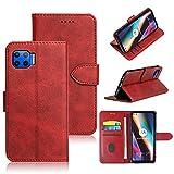 NOKOER Funda para Motorola Moto G 5G Plus, Nueva Piel de Vaca Leather Carcasas [3 Ranuras para Tarjetas] [Función de Soporte] Protección Todo Incluido Case Cover - Rojo